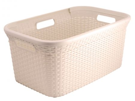 Rattan Look Washing Basket Cream - 45L. The Rattan Washing Basket fits seamlessly into any room configuration and is also resistant against water & humidity. The basket is a stylishly designed to brighten up any bathroom or laundry for a chic & modern look. Available from Howards Storage World.