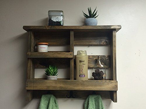 Bathroom Shelf, Rustic Bath Towel Rack With Metal Hooks, Bathroom  Organizer, Rustic Bathroom