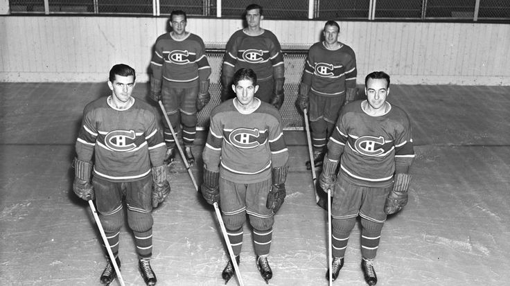 Maurice Richard, Elmer Lach and Toe Blake of the Montreal Canadiens' 'Punch Line'.