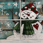Snowman painted in stain glass paint on old window - joyrbridges@gmail.com - Gmail
