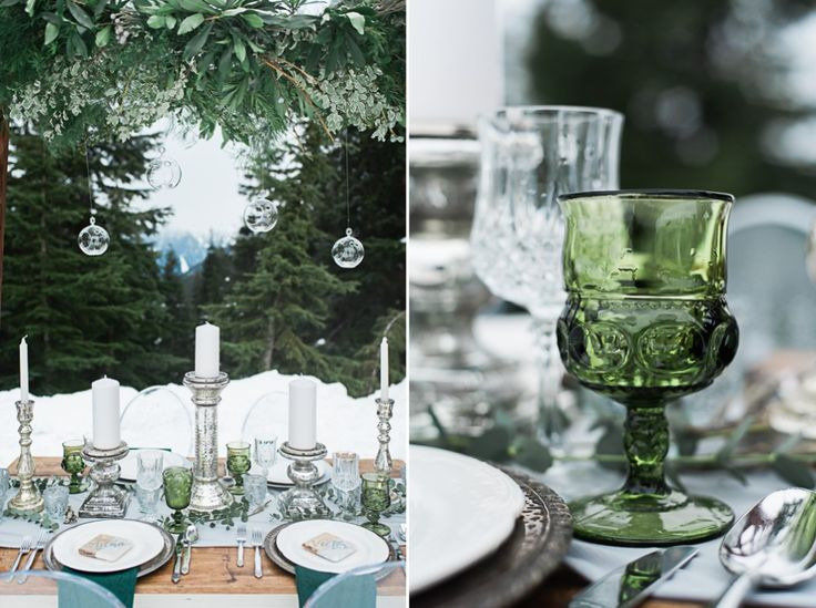 green forest/mountain inspired table setup with green goblets and natural greenery