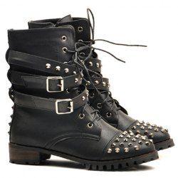 $20.72 Fashion Women's Pretty Combat Boots With Black and Rivets Design
