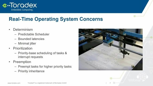 Watch our newest webinar on-demand to learn about different approaches for the development of deterministic systems (Real-Time Embedded Systems) in NXP's i.MX 6 and i.MX 7 series applications processors. This includes the use of Embedded Linux with   Real-Time Paths, Real-Time Linux, Xenomai and Heterogeneous multi-core processing with NXP i.MX 7 SoC. Follow this link to find more information: https://www.toradex.com/webinars/development-of-real-time-systems-with-embedded-linux
