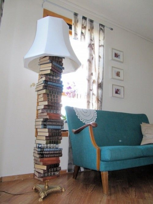 Re-Using Old Books To Make A Floor Lamp | Shelterness - I would modify this slightly...different base, more space between the top book and the light and shade, but I think this is fun!