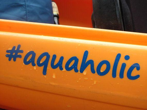 Canoe or kayak decal aquaholic by slappyjoes on etsy 4 25