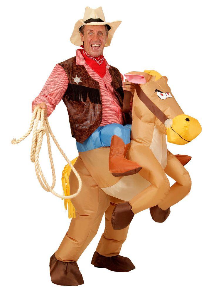 Déguisement cheval de l'ouest gonflable adulte : Ce déguisement est composé d'un chevalet d'un chapeau (tenue de cowboy non incluse).Entièrement gonflable, le cheval offre une expression fière avec et...