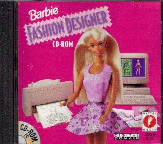 Barbie fashion designer game for Windows 95. Oh gosh I remember the rage I had with this because the clothes just fell apart or used up all the ink or the game would run uber slow.