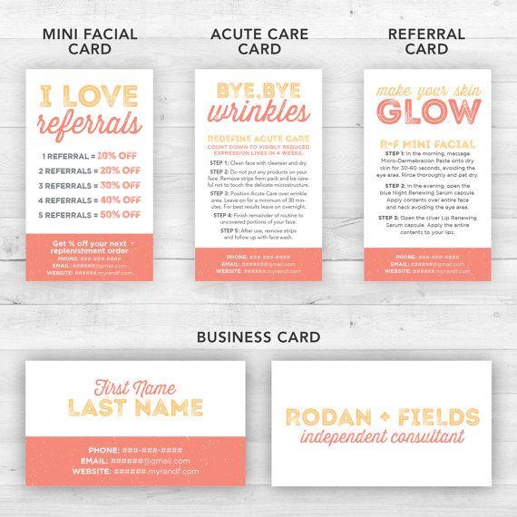Rodan and Fields Business Cards Kit Peach  by LittleBizDesigns