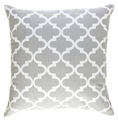 TreeWool, Cotton Canvas Trellis Accent Decorative Throw Pillowcases (2 Cushion Covers; 16 x 16 Inches; Silver Grey & White)