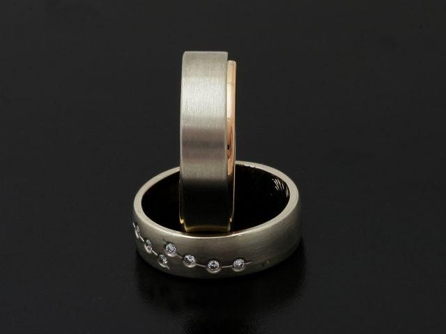 #Rings by #Bielak  white #gold / pink gold  8 white diamonds  #unique #wedding rings with #fingerprint  #HandMade in #Poland
