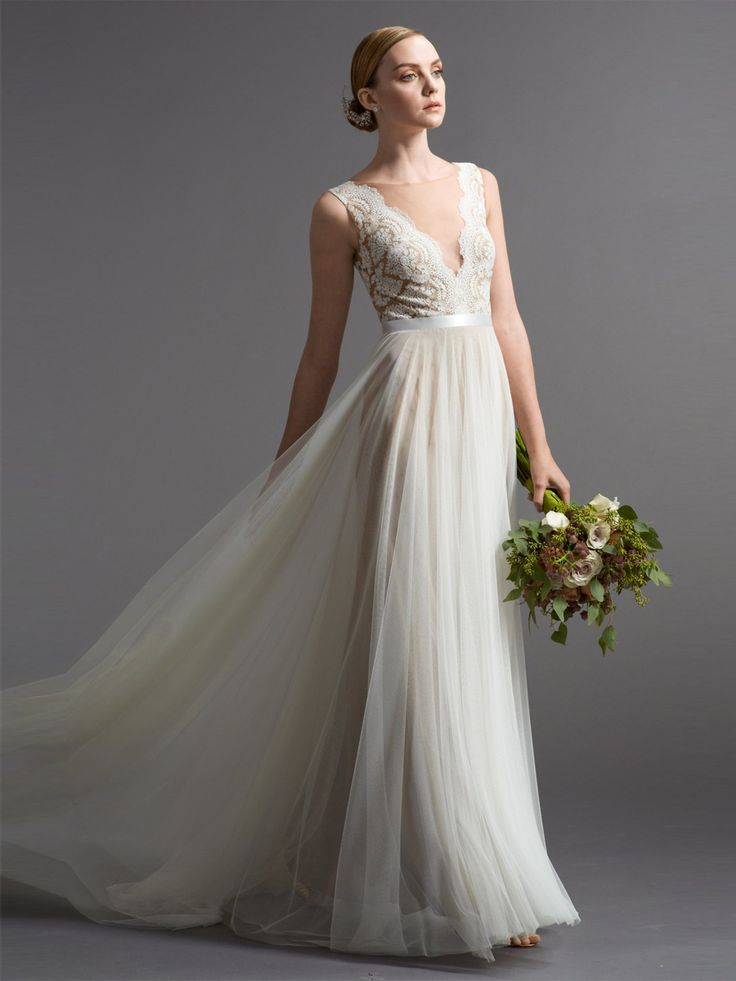 Romantic A-line Wedding Dresses with Illusion Neckline and Plunging Back