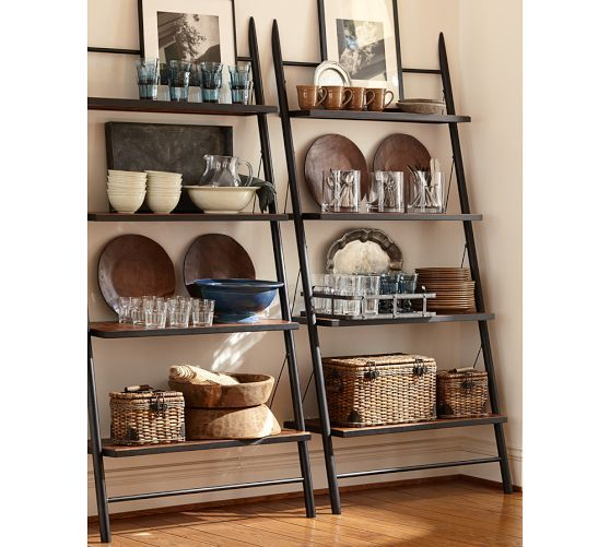 Decorating with Leaning + Ladder Shelves - Leaning Shelves are affordable, open + airy, and bring great height to a space.  So much inspirat...