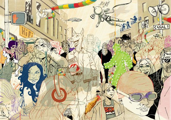 His illustrations capture the hustle and bustle of city life, full of characters and a splash of the surreal. Deans work draws you in to discover more. His work has graced the covers of magazine and been used in calendars.