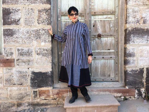 Hand weefgetouw stripe tuniek nerhu kraag jurk grijs door MadameHall