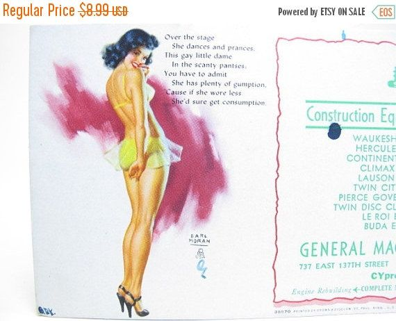 ON SALE Earl Moran 1940s Pin Up Advertisement Ink by GreyTreeFrog