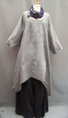 NEW COLOUR~La Bass~ SILVER GREY~Oversized Linen Panel Top/Dress~ 20-28