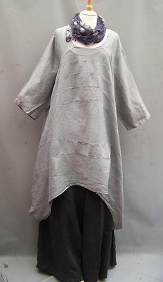 NEW COLOUR~La Bass~ SILVER GREY~Oversized Linen Panel Top/Dress~ 20-28