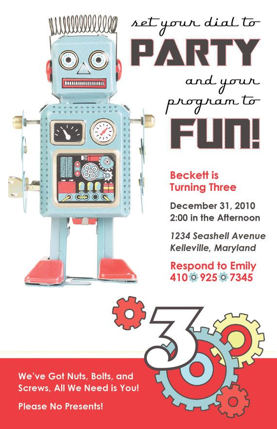 Robot and Gears Birthday Party Invitation, DIY Printing
