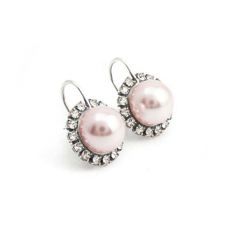 Krikor Roze parel oorbellen 10 mm rosalin pearl