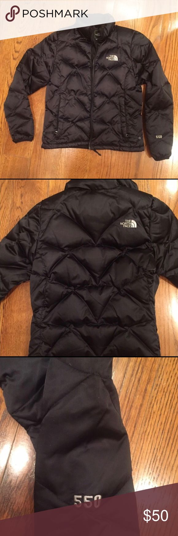 North Face 550 Women's puffer coat Great condition, slightly shiny black, full zip, bottom hits at waist, 550 weight. Great coat to stay warm this winter! North Face Jackets & Coats Puffers