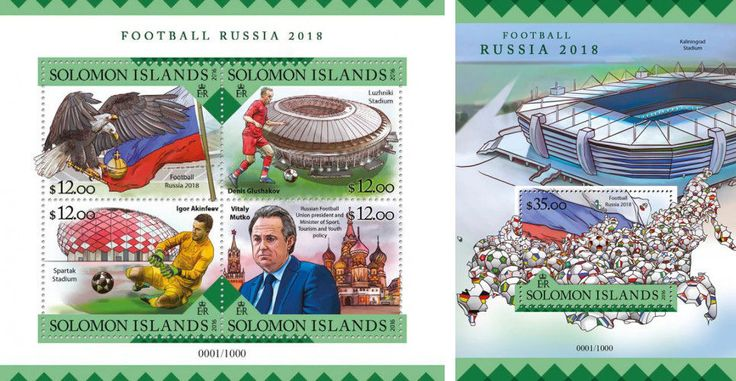 Solomon Islands Soccer World Cup Russia FIFA 2018 MNH stamp set 2 sheets  | eBay