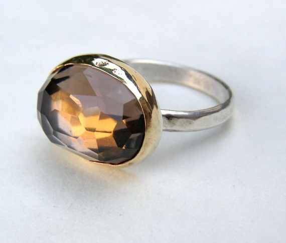 Stone ring Brown Smoky quartz Gold ring - silver ring with gold bazel