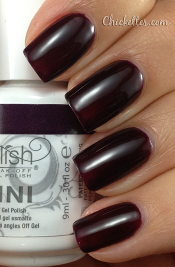 Gelish Bella's Vampire Swatch- my favorite nail color!