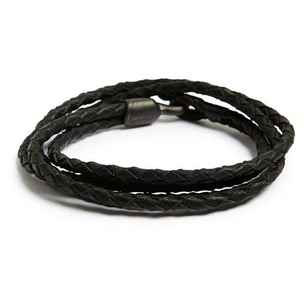 Men's Miansai 'Trice Noir' Braided Leather Wrap Bracelet (6.170 RUB) ❤ liked on Polyvore featuring men's fashion, men's jewelry, men's bracelets, noir, men's wrap bracelet, mens bracelets, mens watches jewelry and mens leather braided bracelets
