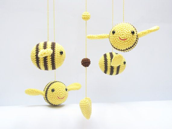 Bumble abeja bebé móvil vivero móvil decoración por cherrytime, €64.98