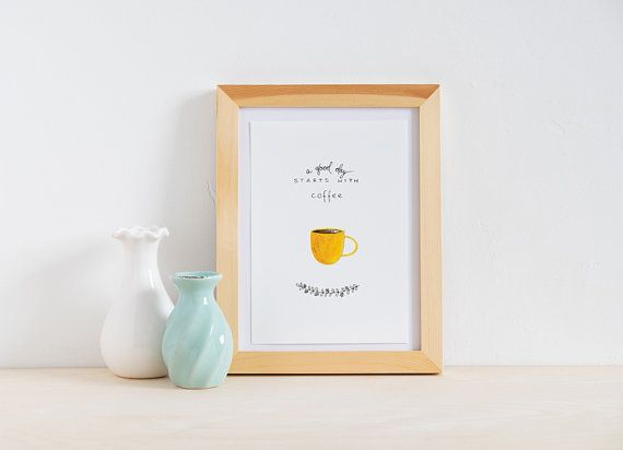 Yellow Coffee Cup Coffee Sign Watercolor by morningswithcoffee