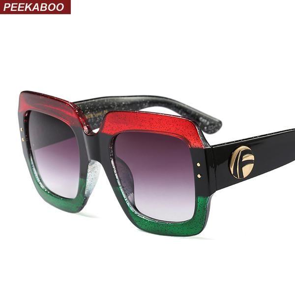 b3147a649d Peekaboo oversized square sunglasses women gradient lens sun glasses women  brand luxury 2018 black green red uv400