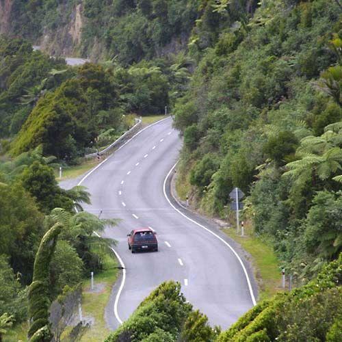Highway 6 near Hokitika, South Island, New Zealand