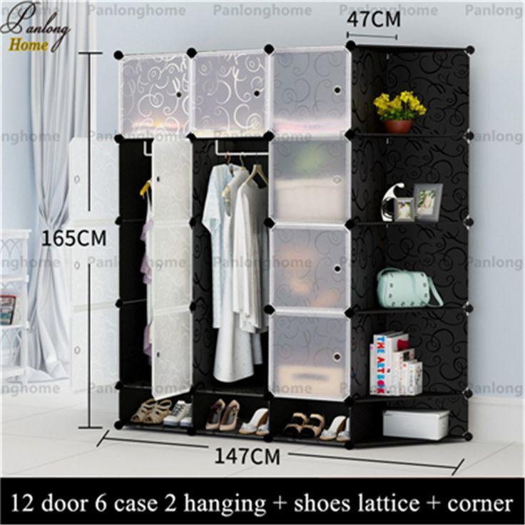 PanlongHome 2017 Goedkope Eenvoudige Slaapkamer Garderobemeubilair Doek Volwassen Vergadering Plastic Slaapzaal Enkele Student Kleding Kast