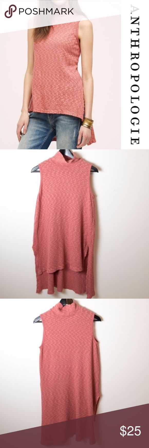 Anthropologie High Low Pink Tunic Left Of Center Left of Center tunic from Anthropologie. Rouge Red (I'm going to go with salmon or pink on the color). Sleeveless high low tunic with turtleneck. Size XS. Nubby cotton, pullover styling. Great piece with leggings, skinny jeans or a pencil skirt. Good preloved condition. No noticeable holes, stains or rips. Anthropologie Tops Tunics