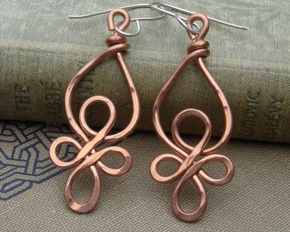 Celtic Loops Copper Wire Earrings by nicholasandfelice on Etsy, $ 18.00 >> These beautiful earrings would go with everything!