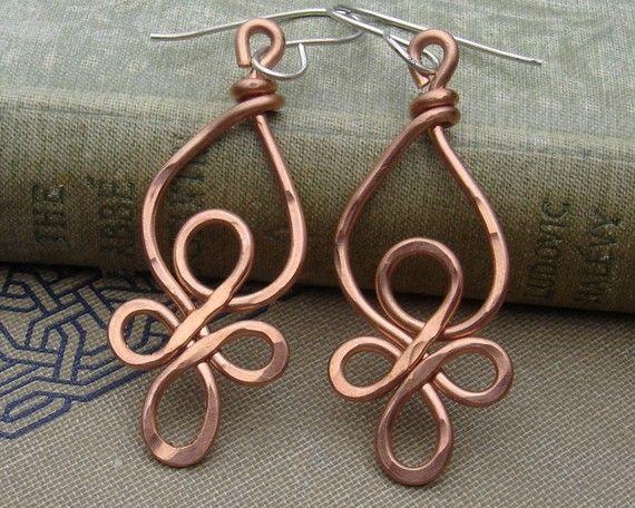 Celtic Loops Copper Wire Earrings  Celtic by nicholasandfelice, $ 18.00