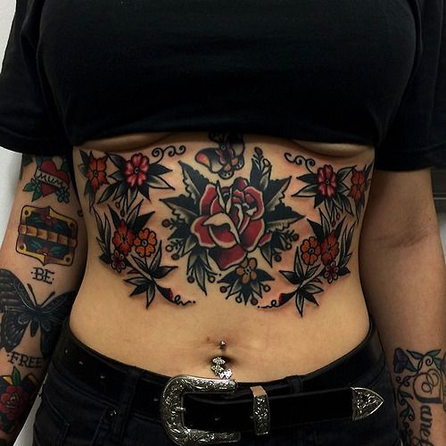 Traditional Rose Stomach Tattoo