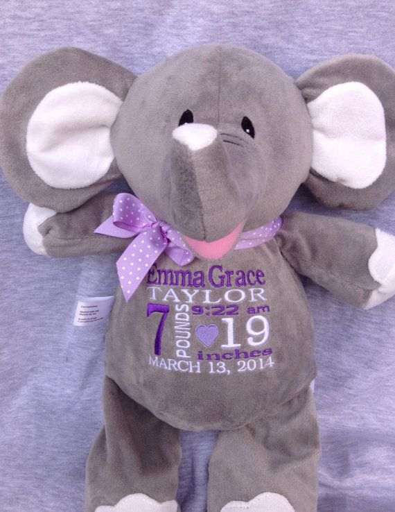 446 best personalized baby gifts images on pinterest personalized baby gift elephant stuffed animal embroidered birth announcement new baby boy girl gift world class embroidery negle Gallery