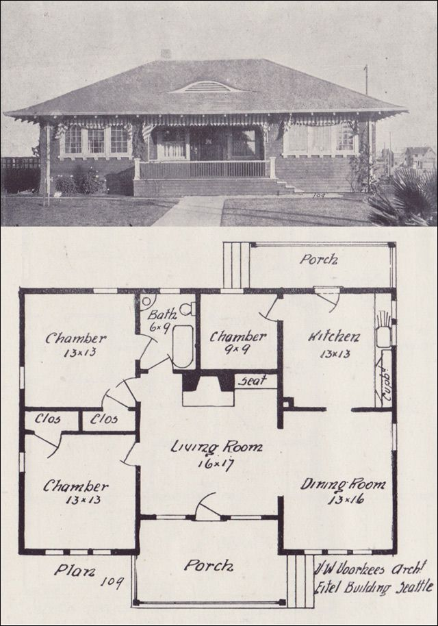 1908 Hip Roofed Bungalow Plan Western Home Builder Vintage House