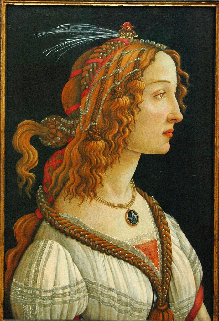 Sandro Botticelli. Idealized Female Portrait (Portrait of Simonetta Vespucci as a Nymph). dated between 1445-1510. paint on poplar panel.