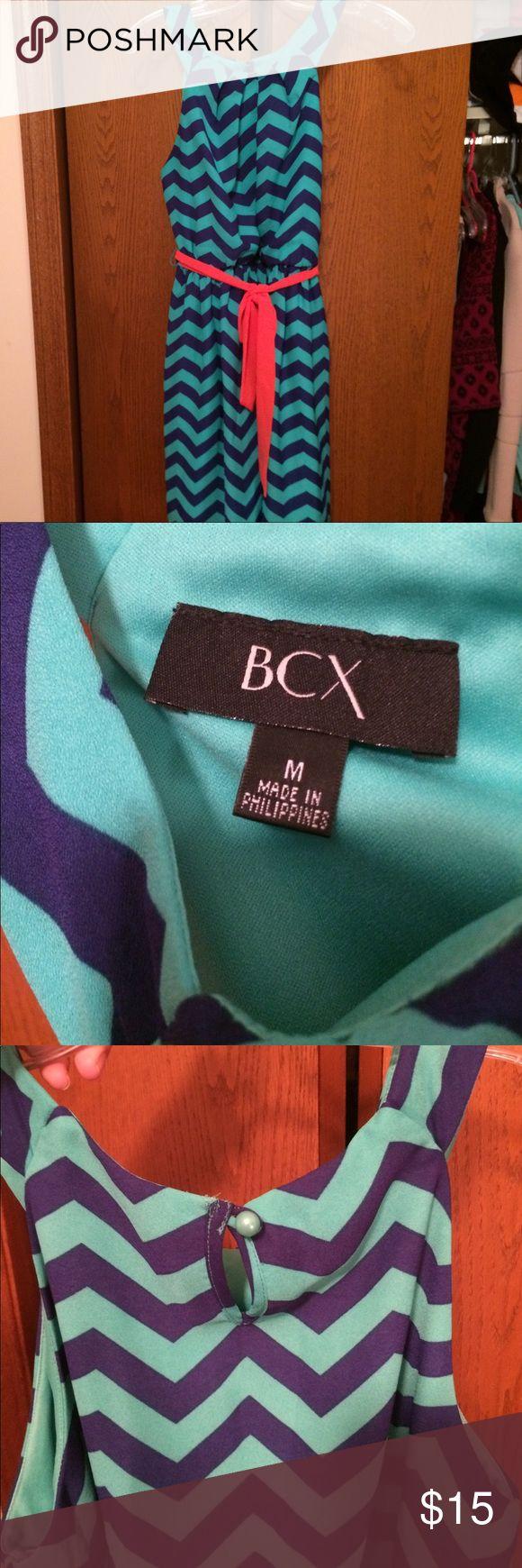 Chevron dress Teal and blue chevron dress with peach tie around cinched waist. BCX Dresses Mini