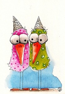 Birds in paper hats…another one as idea to crochet