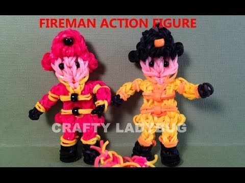 Rainbow Loom FIREMAN FRED Figure. Designed and loomed by Crafty Ladybug. Click photo for YouTube tutorial. 04/12/14.