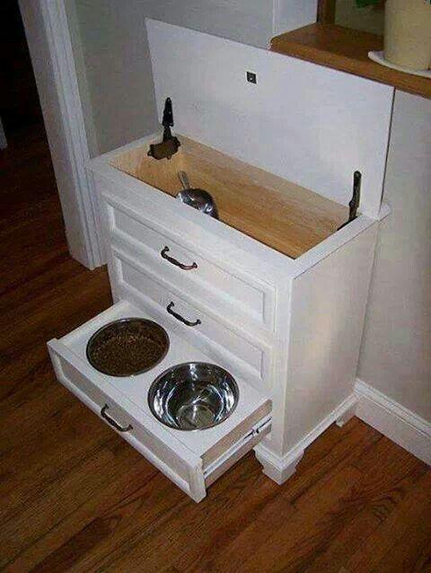 Refurbished dresser into feeding station.