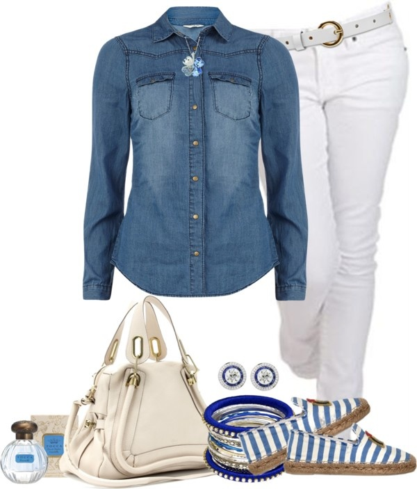 """""""Camisa de jeans"""" by sil-engler ❤ liked on Polyvore"""