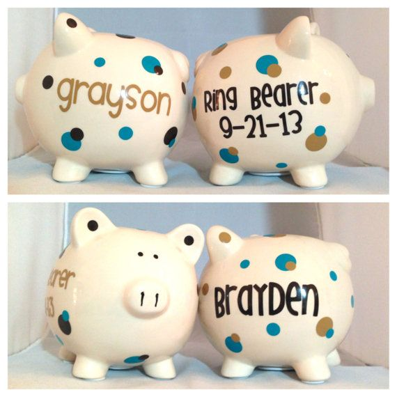 Ring Bearer Piggy Bank - Personalized Thank You Gift - Customize With Your Wedding Colors