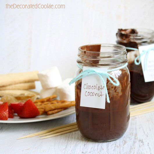 Chocolate FONDUE-TO-GO !! The perfect party dessert. Takes minutes to make and lasts all night without heat.