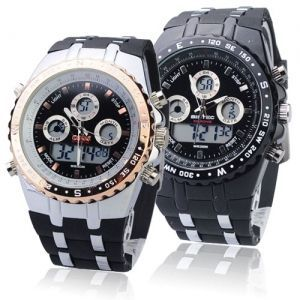 Big Dial Waterproof Sport Watch With Dual Time/Stopwatch/Week/Alarm/Calendar/EL Backlight - Black/Go  http://tripleclicks.com/12111575/detail.php?item=187355