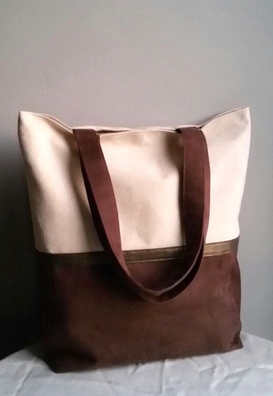 Large classic shoulder bag bag with eco suedeunique by IrisBags