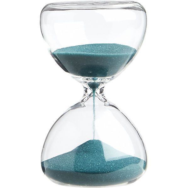 "5-minute turquoise hour glass  | CB2,  2.25"" dia. x 4""H, $4.95"